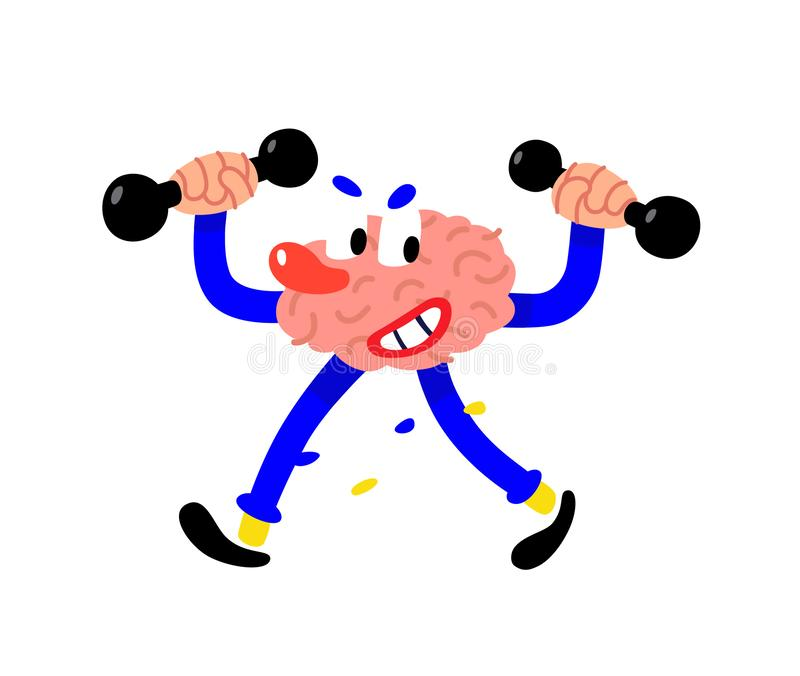 Un cerveau peint par bande dessinée secoue l'intellect Illustration plate de vecteur sur le fond blanc Le caractère est intellige illustration de vecteur