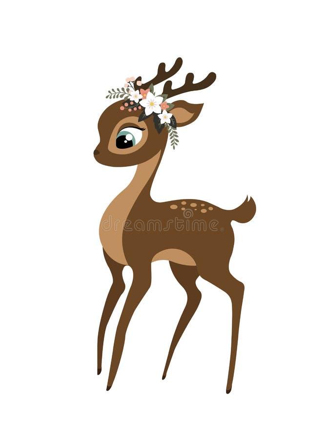 Un cervo sveglio del bambino con una corona floreale illustrazione vettoriale