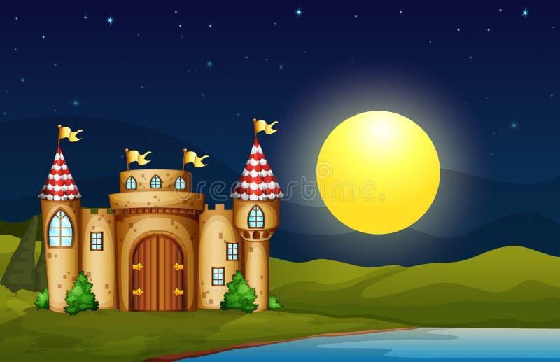 Un château près de la rivière illustration stock