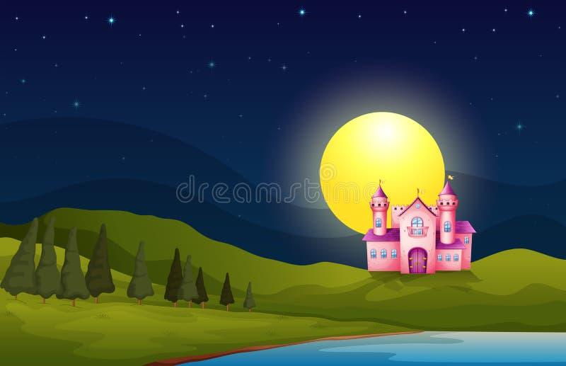 Un château rose dans la colline illustration de vecteur