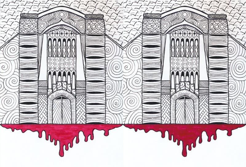 Un château sombre avec un modèle de poignée et une tache ensanglantée illustration stock