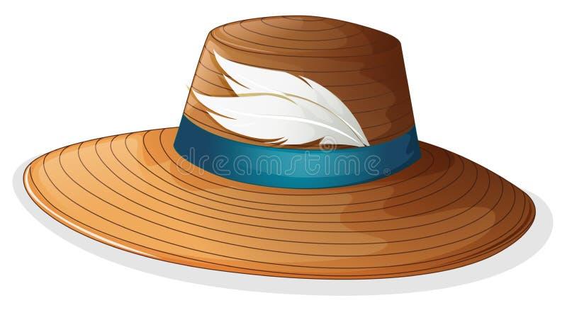 Un chapeau brun avec les plumes blanches illustration libre de droits
