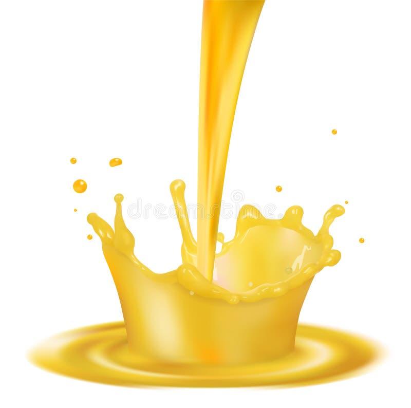 Un chapoteo del zumo de naranja con salpica stock de ilustración