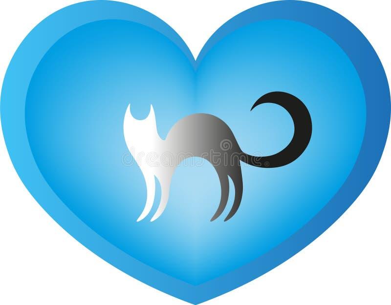 un chat au coeur illustration de vecteur
