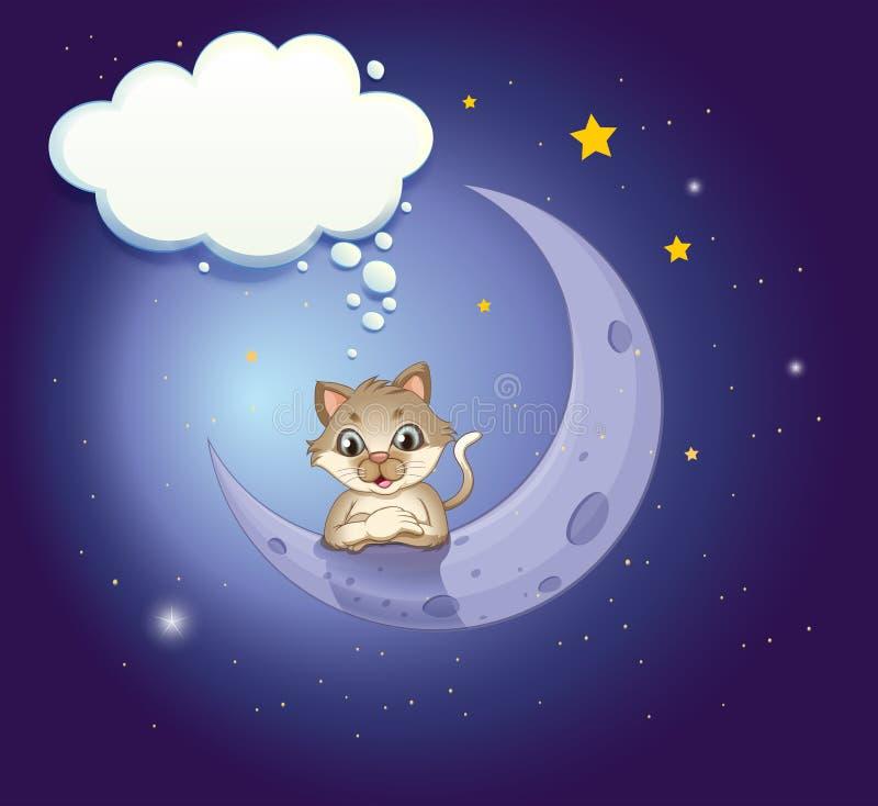Un chat dans le ciel avec une légende vide illustration libre de droits