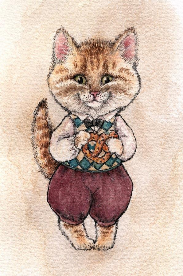 Un chat pelucheux brun féerique avec les oreilles et le nez roses une tient l'isolant illustration de vecteur