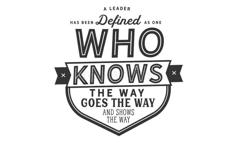 Un chef a été défini en tant qu'un qui connaît la manière illustration libre de droits