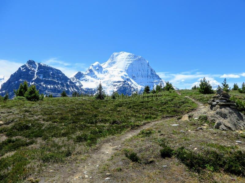 Un chemin menant au beau glacier de Robson de bâti le long de la traînée de lac berg photo libre de droits