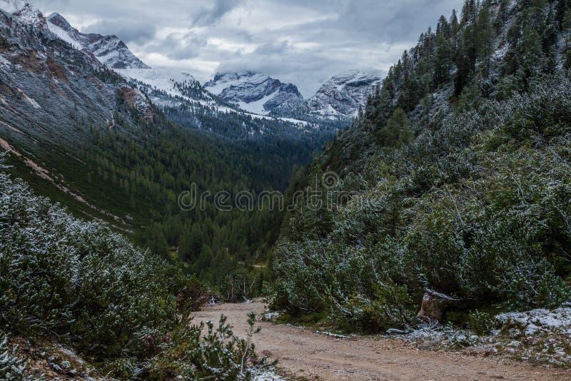 Un chemin ou un sentier de randonnée en montagnes de dolomite de l'Italie du nord photographie stock libre de droits