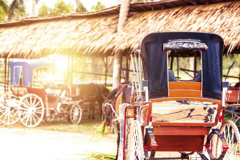 Un cheval et un beau vieux chariot dans la vieille ferme photographie stock