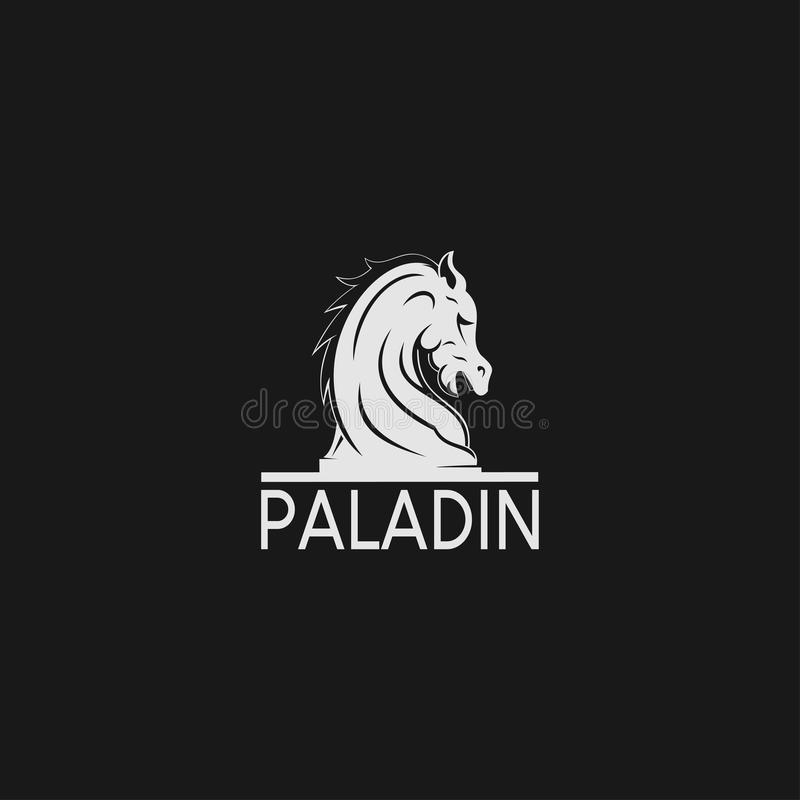 Un chevalier noir Chess Style de logo de cheval illustration libre de droits