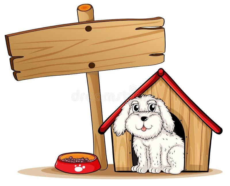 Un chien à l'intérieur de la niche avec une enseigne en bois illustration libre de droits