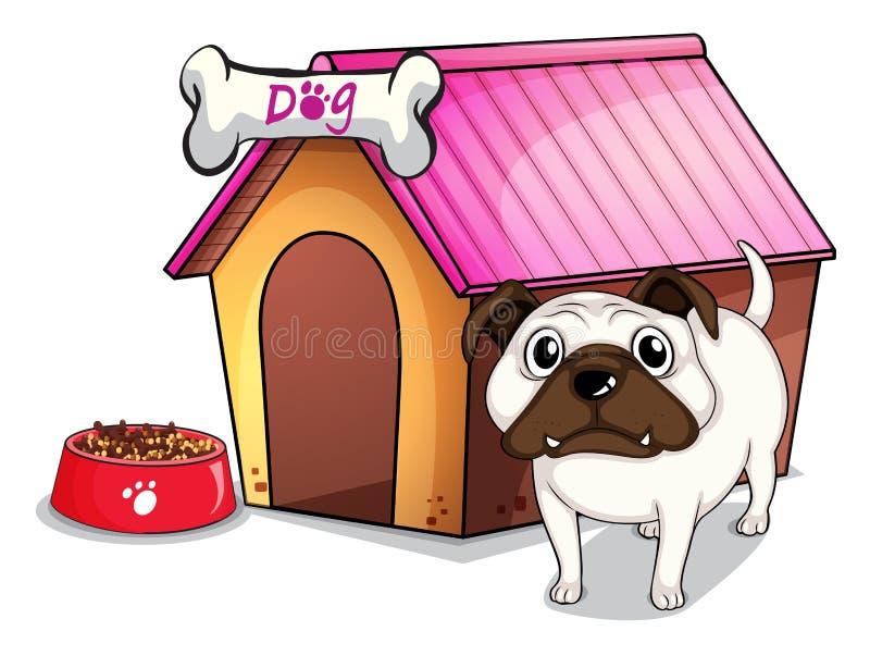 Un chien en dehors du chenil illustration de vecteur