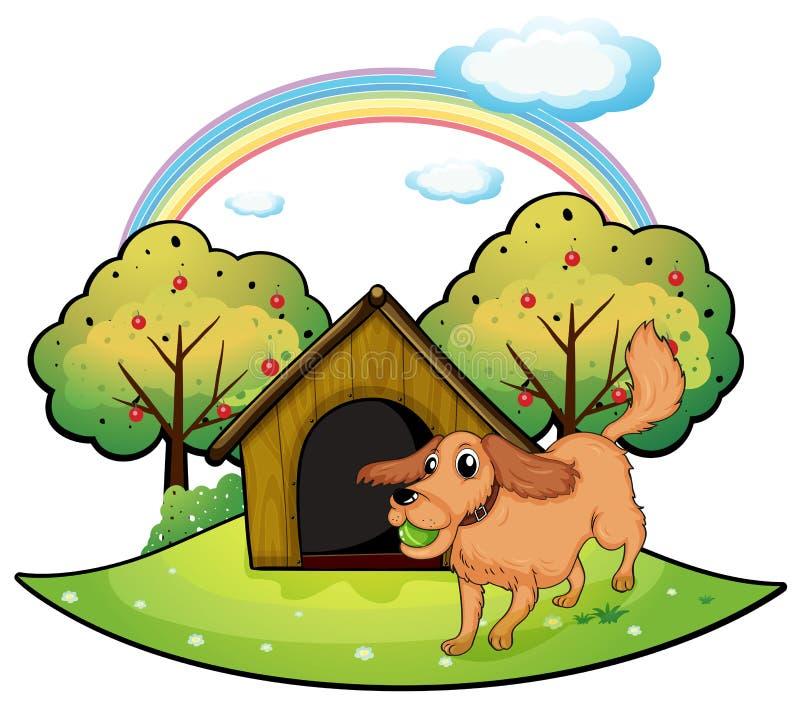 Un chien jouant en dehors du chenil près du pommier illustration libre de droits