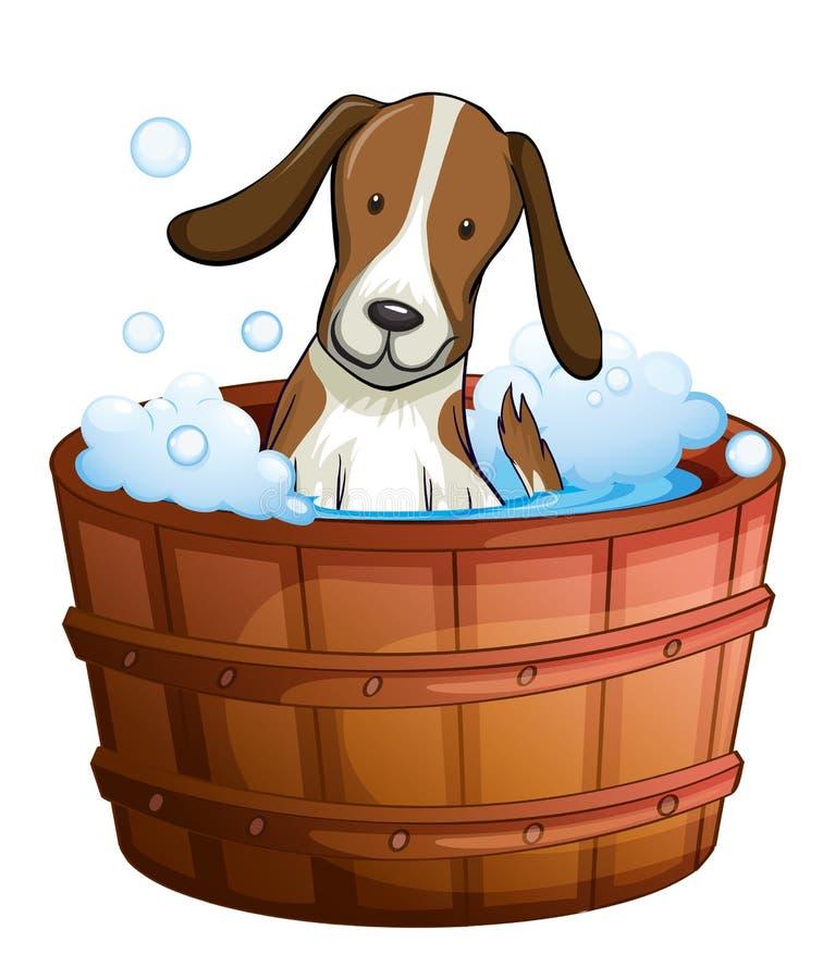 Un chien prenant un bain à la baignoire illustration de vecteur