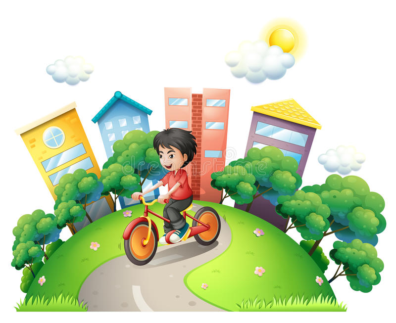 Un ciclismo del ragazzo alla strada che va alle alte costruzioni royalty illustrazione gratis
