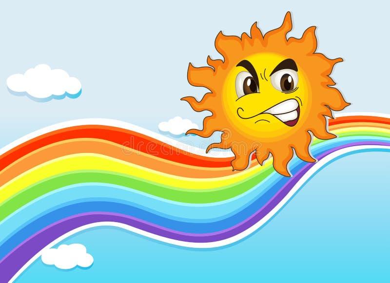 Un ciel avec un arc-en-ciel et un soleil fâché illustration de vecteur