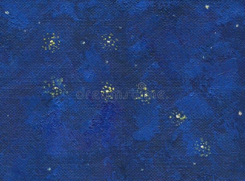 Un cielo notturno profondo con le stelle Pittura a olio illustrazione di stock