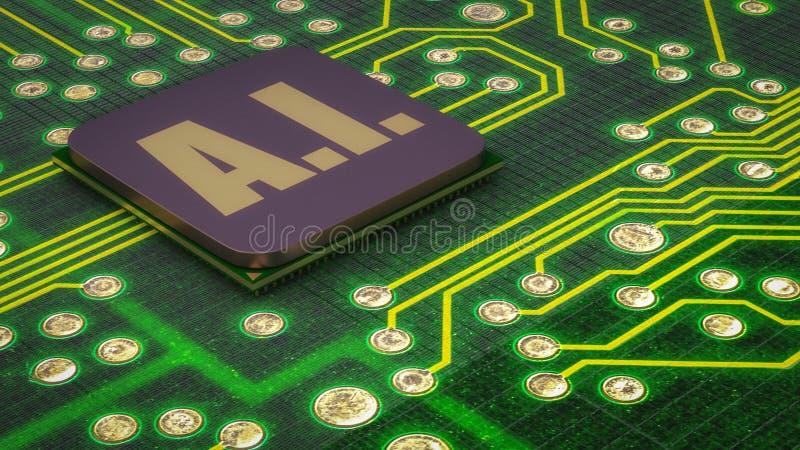 Un cierre para arriba de un microprocesador de la inteligencia artificial stock de ilustración