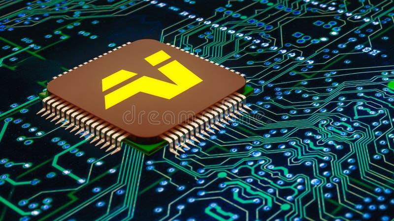 Un cierre para arriba de un microprocesador de la inteligencia artificial ilustración del vector