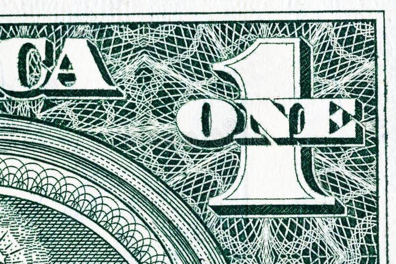 Un cierto detalle de un billete de dólar en macro fotos de archivo libres de regalías