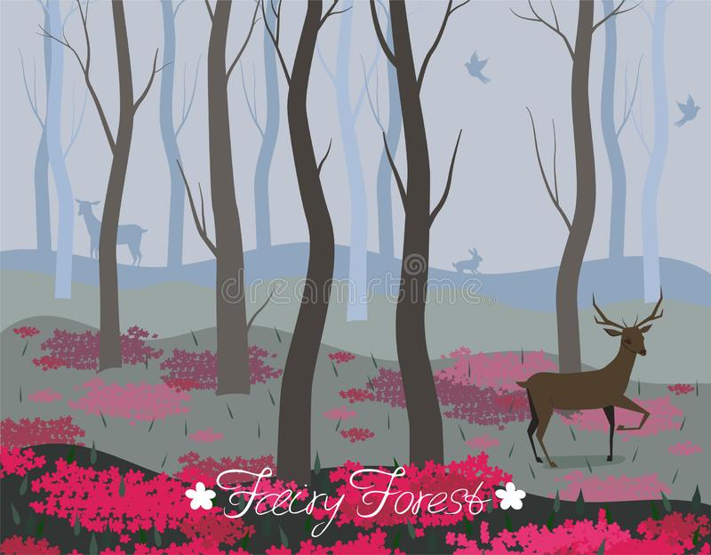 Un ciervo en el fondo del vector del bosque de hadas para el diseño de tarjetas, banderas, páginas web, aviadores y otro ilustración del vector