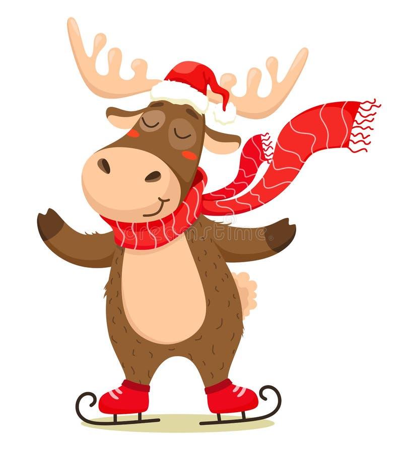 Un ciervo lindo de la Navidad con una bufanda que patina y que lleva un sombrero de Santa Claus Aislante del vector en el fondo b libre illustration