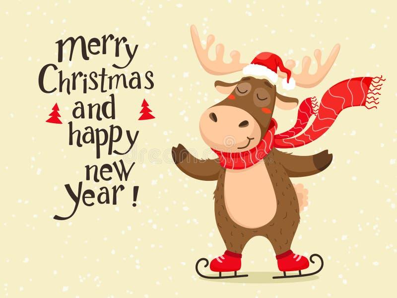 Un ciervo lindo de la Navidad con una bufanda que patina y que lleva un sombrero de Santa Claus Texto de la escritura, letras Ais ilustración del vector