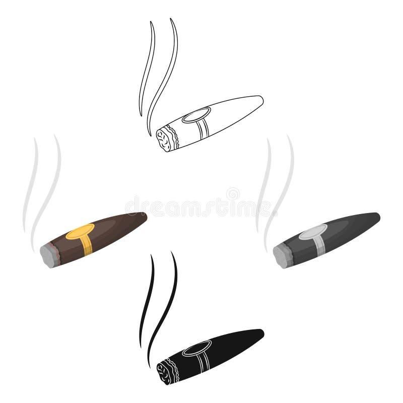 Un cigare d?chir? en lambeaux avec de la fum?e Un signe d'autorit? dans le casino Ic?ne simple de Kasino dans la bande dessin?e,  illustration libre de droits