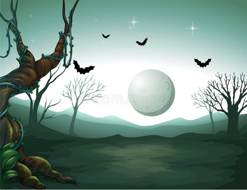 Un cimetière et une lune illustration stock