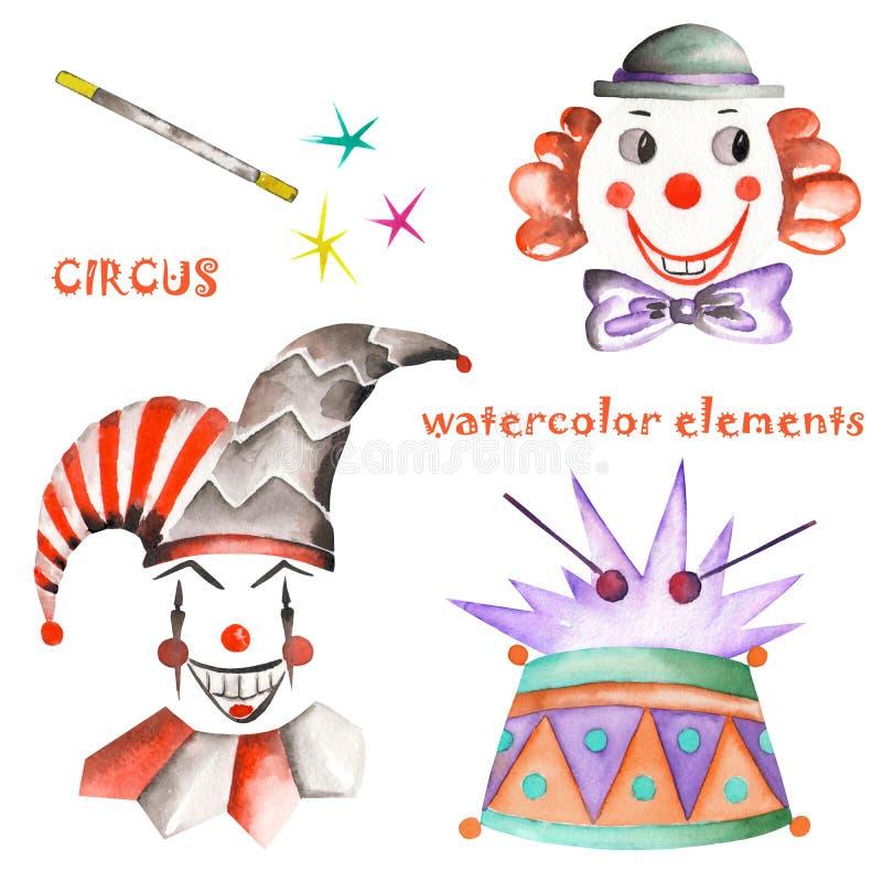 Un circo de la acuarela fijó con los elementos dibujados mano: tambor, payasos y arlequines Pintado en un fondo blanco libre illustration