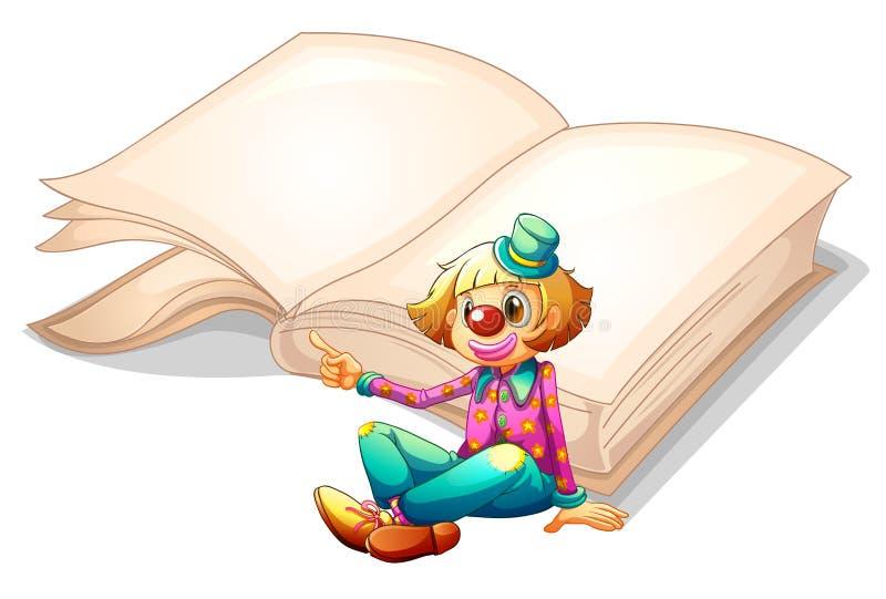 Un clown avec un livre au fond illustration libre de droits