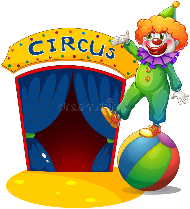 Un clown en haut d une boule présentant la maison de cirque