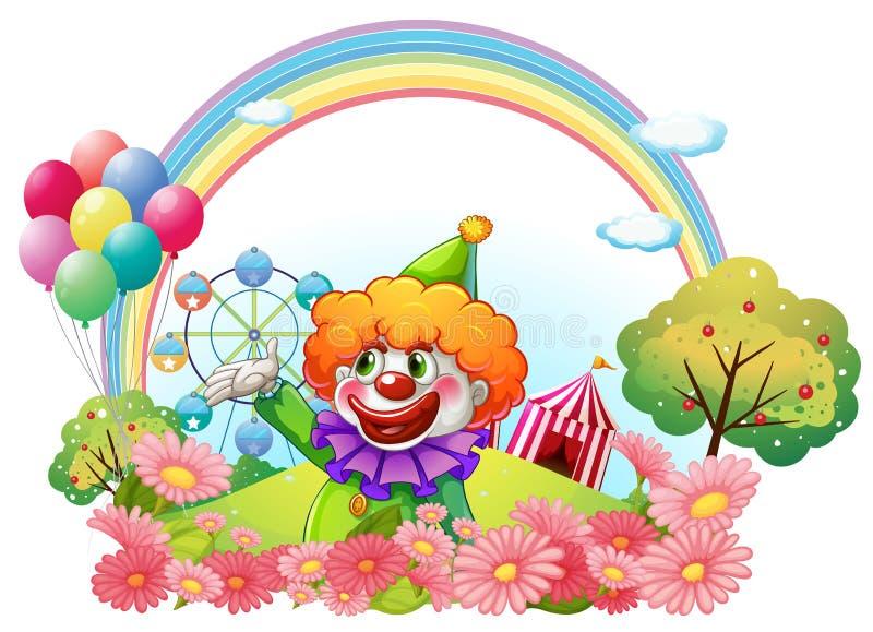 Un clown en parc d'attractions illustration libre de droits
