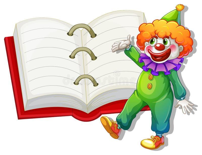 Un clown et le grand carnet illustration libre de droits