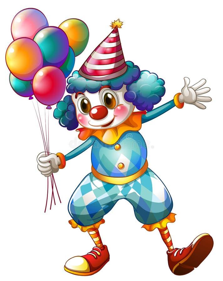 Un clown tenant des ballons illustration de vecteur
