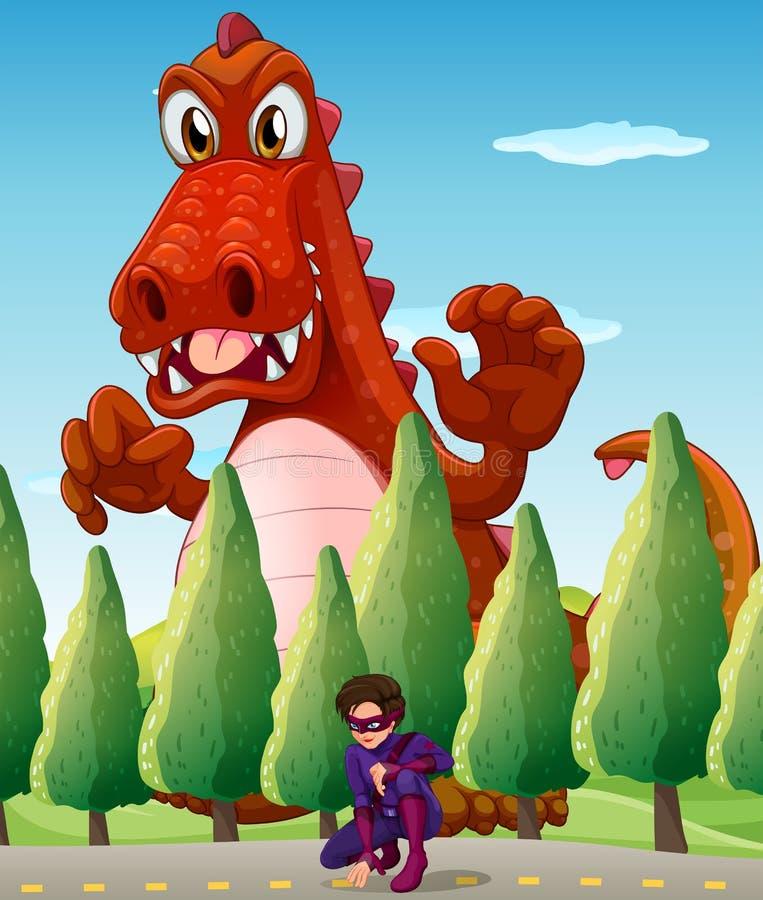 Un coccodrillo gigante spaventoso e un supereroe illustrazione di stock