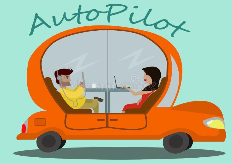 Un coche anaranjado de la historieta que se mueve sin un conductor stock de ilustración