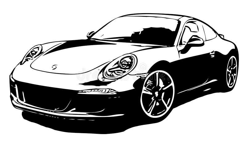 Un coche de deportes muy rápido en el fondo blanco ilustración del vector