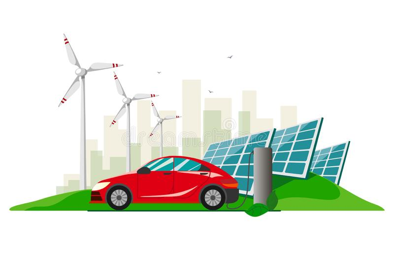 Un coche eléctrico rojo que encarga en la estación del cargador contra el fondo de las turbinas de viento y de los paneles solare libre illustration