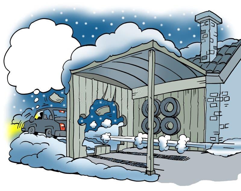 Un coche en los neumáticos resbaladizos del invierno ilustración del vector