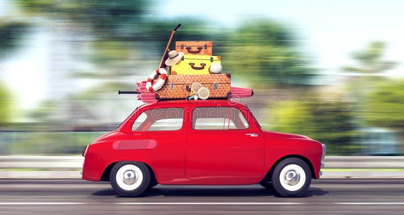 Un coche rojo con equipaje en el tejado va rápidamente el vacaciones imagen de archivo libre de regalías
