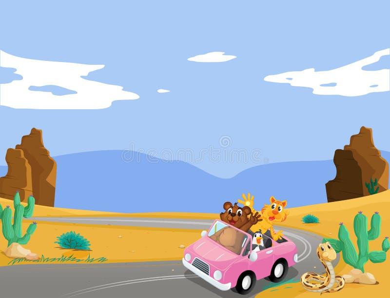 Un coche rosado con viajar de los animales stock de ilustración