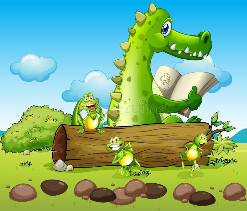 Un cocodrilo y las tres ranas juguetonas ilustración del vector