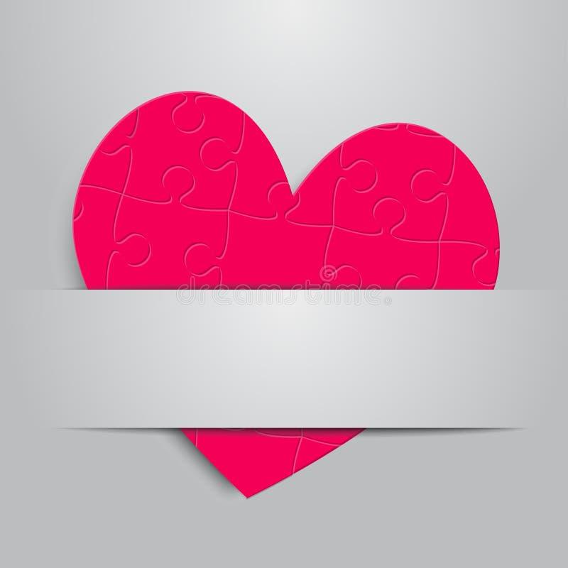 Un coeur rose de puzzle Amour denteux romantique illustration libre de droits
