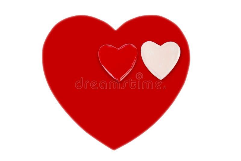 Un coeur rouge et petit coeur deux pour le Saint Valentin image stock