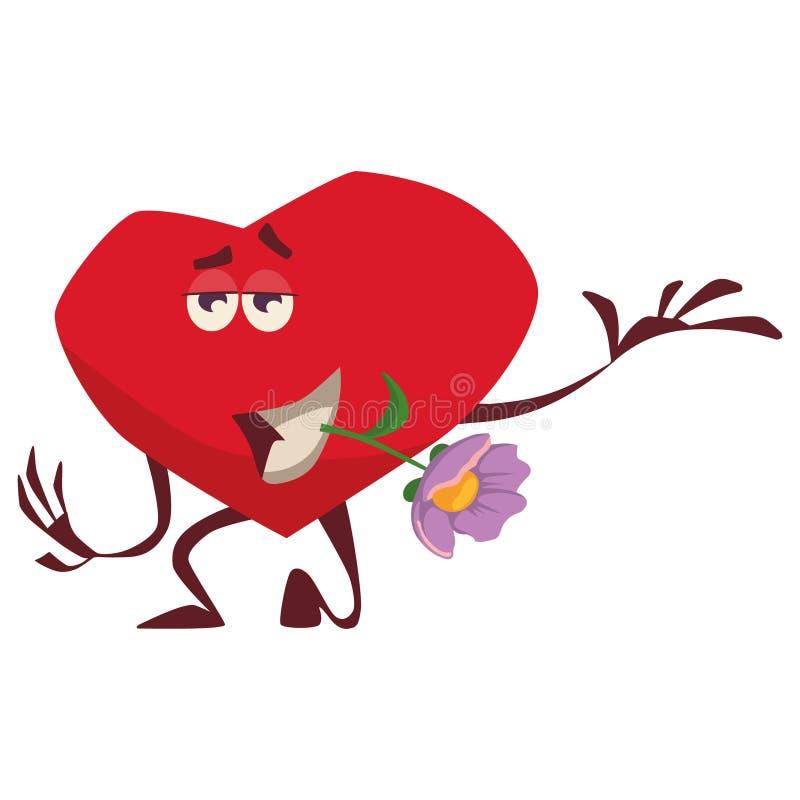 Un coeur vaillant tient une fleur lilas dans des ses dents, se tient sur un genou, expositions aiment, des soins admirablement illustration libre de droits