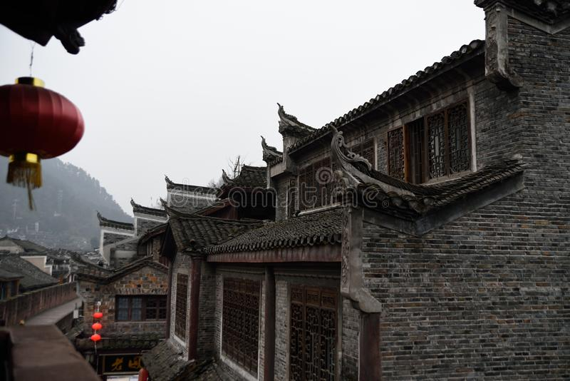 Un coin de ville antique du ` s de la Chine image stock