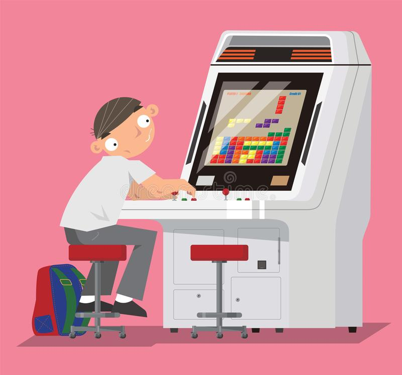 Un colegial que juega al videojuego en centro de juego de arcada ilustración del vector