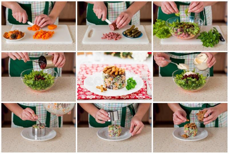 Un collage étape-par-étape de faire la salade allemande de Noël photo stock